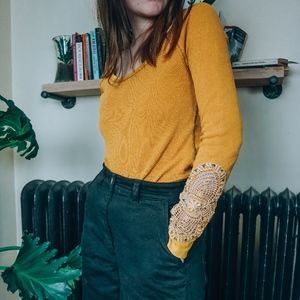 Free People Mustard Waffle Knit Crochet Thermal